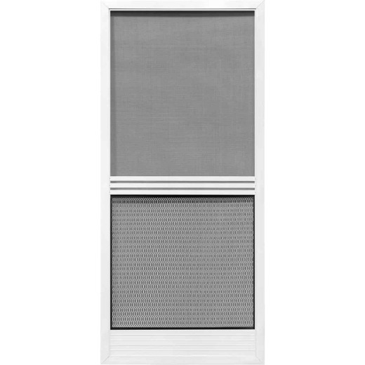 Precision Screen Provencial 36 In. W x 80 In. H x 7/8 In. Thick White Steel Screen Door